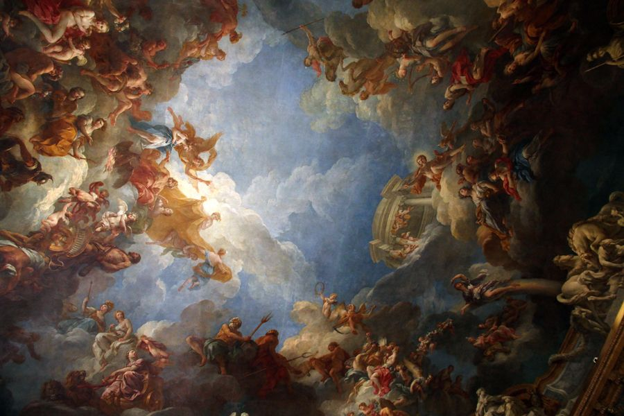 One of the many ceiling paintings