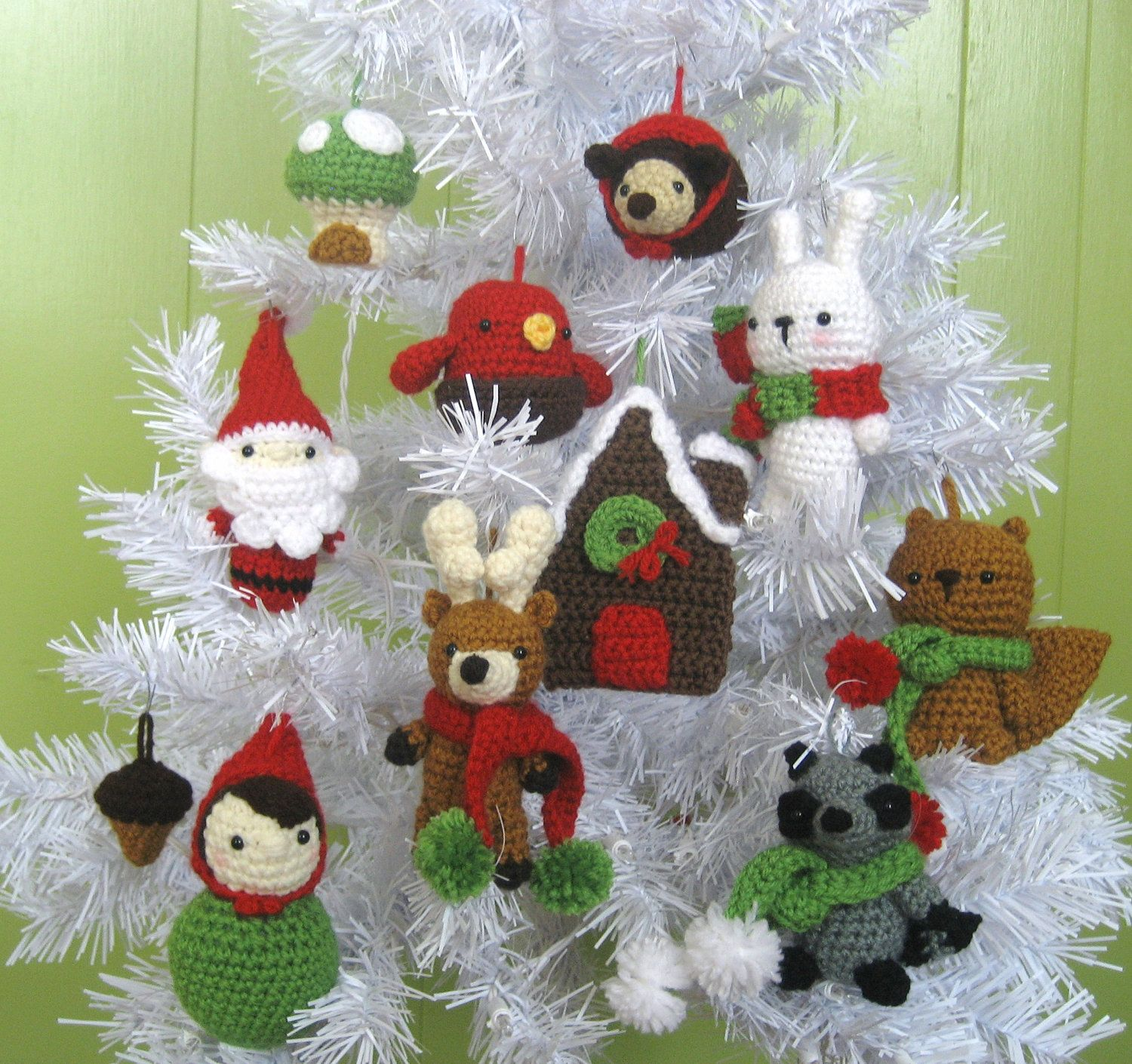 Amigurumi woodland christmas ornament crochet pattern set pdf