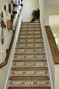 Tiles on stair risers.