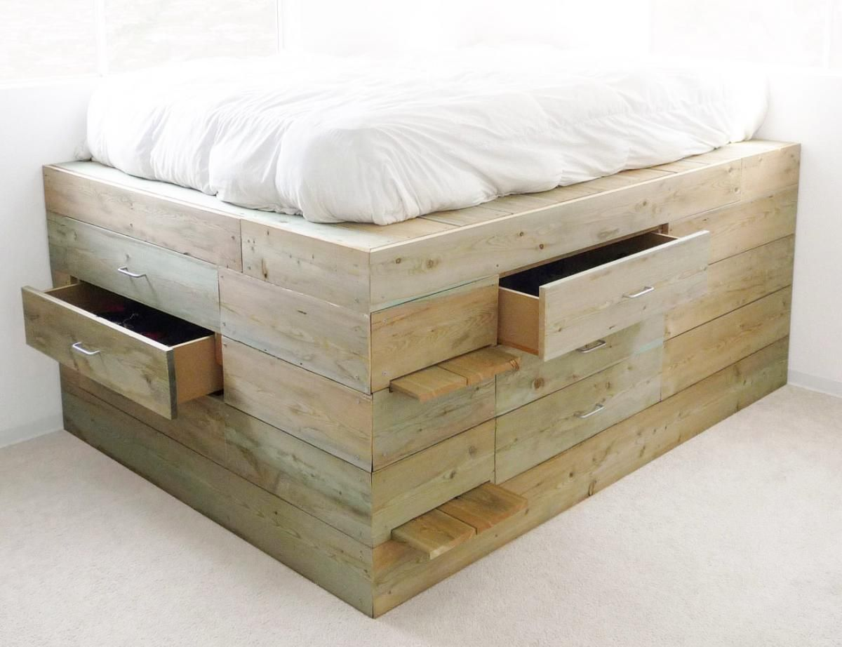Raised platform beds with storage of the raised platform the bed contains six drawers
