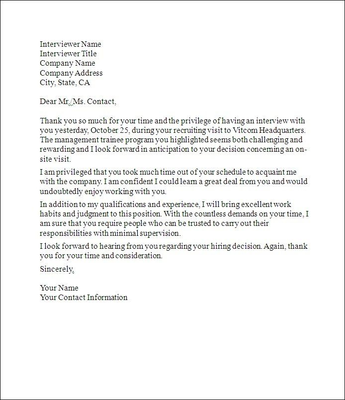 Job Interview Thank You Letter - interview thank you letters after - post interview thank you letters