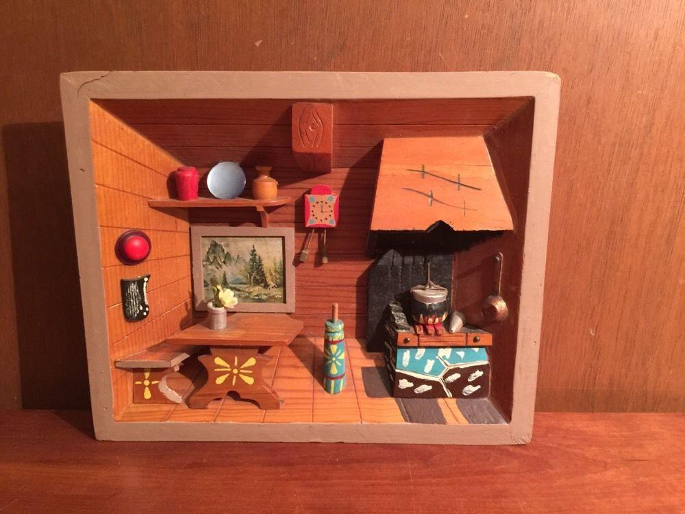 Vintage German Black Forest Diorama 3d Folk Art Shadow Box