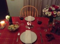 romantic candle light dinner.. Simple table set-up ...