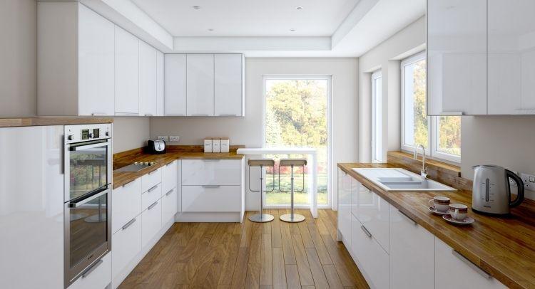 geräumige Küche mit zwei Zeilen - weiße Hochglanz Fronten und Holz - moderne kuchen weiss holz
