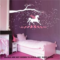 Unicorn fantasy girls bedroom wall art sticker vinyl decal ...