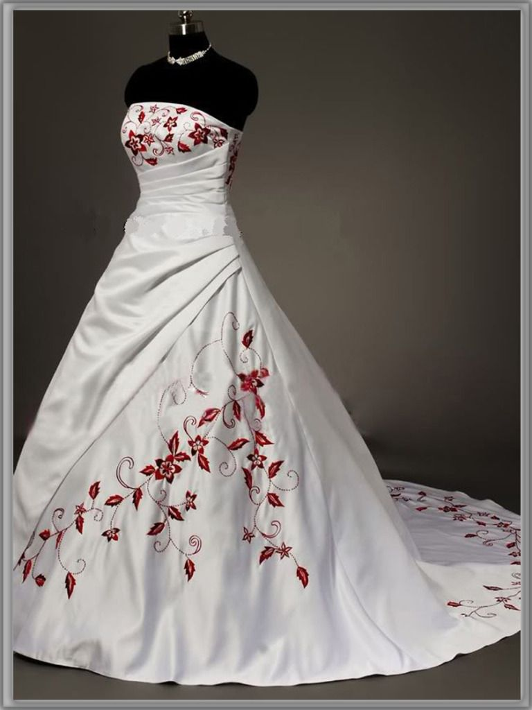 red wedding dresses Stock New White and Red Embroidery Wedding Dress Bridal Gown 8 10 12 14 16