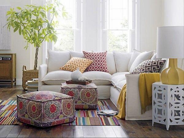 contemporary living room ottoman pouf sectional sofa Moroccan - living room ottoman