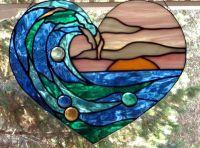 Stained Glass Art Window WAVE IN HEART Suncatcher Panel ...