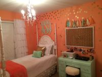 Pre-teen girl bedroom makeover. Coral & Mint bedroom with ...