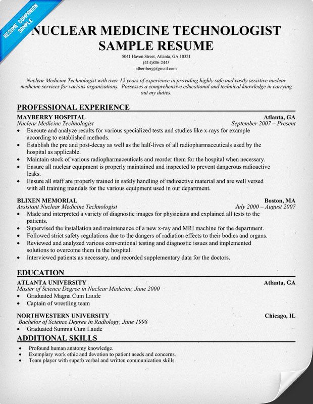 Nuclear Medicine Technologist Resume + Free Resume (http - radiology technician resume