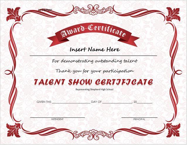 Talent Show Award Certificate DOWNLOAD at http\/\/certificatesinn - first place award template