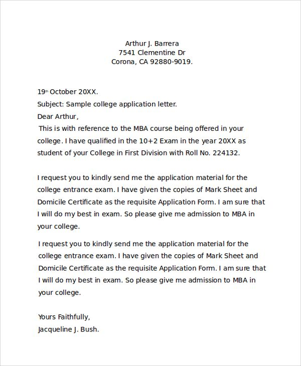 sample college application letter documents pdf word best free - college application letter
