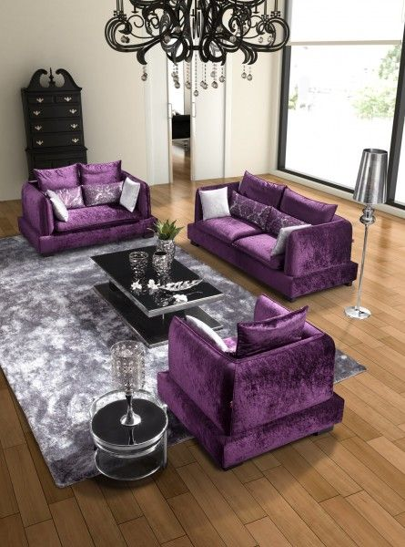 purple living room decorations with modern purple furniture - purple living room decor