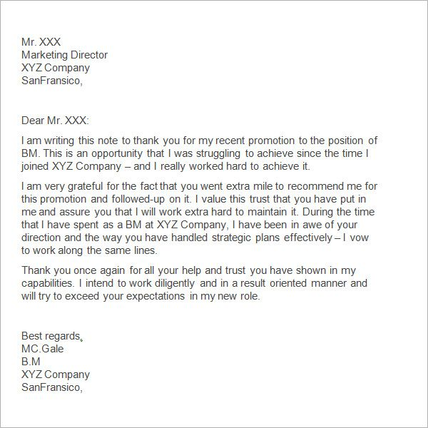 sample thank you letter boss free documents download word - professional thank you letter