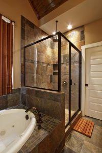 slate bathroom ideas   Slate tile, shower/bath combo, wall ...