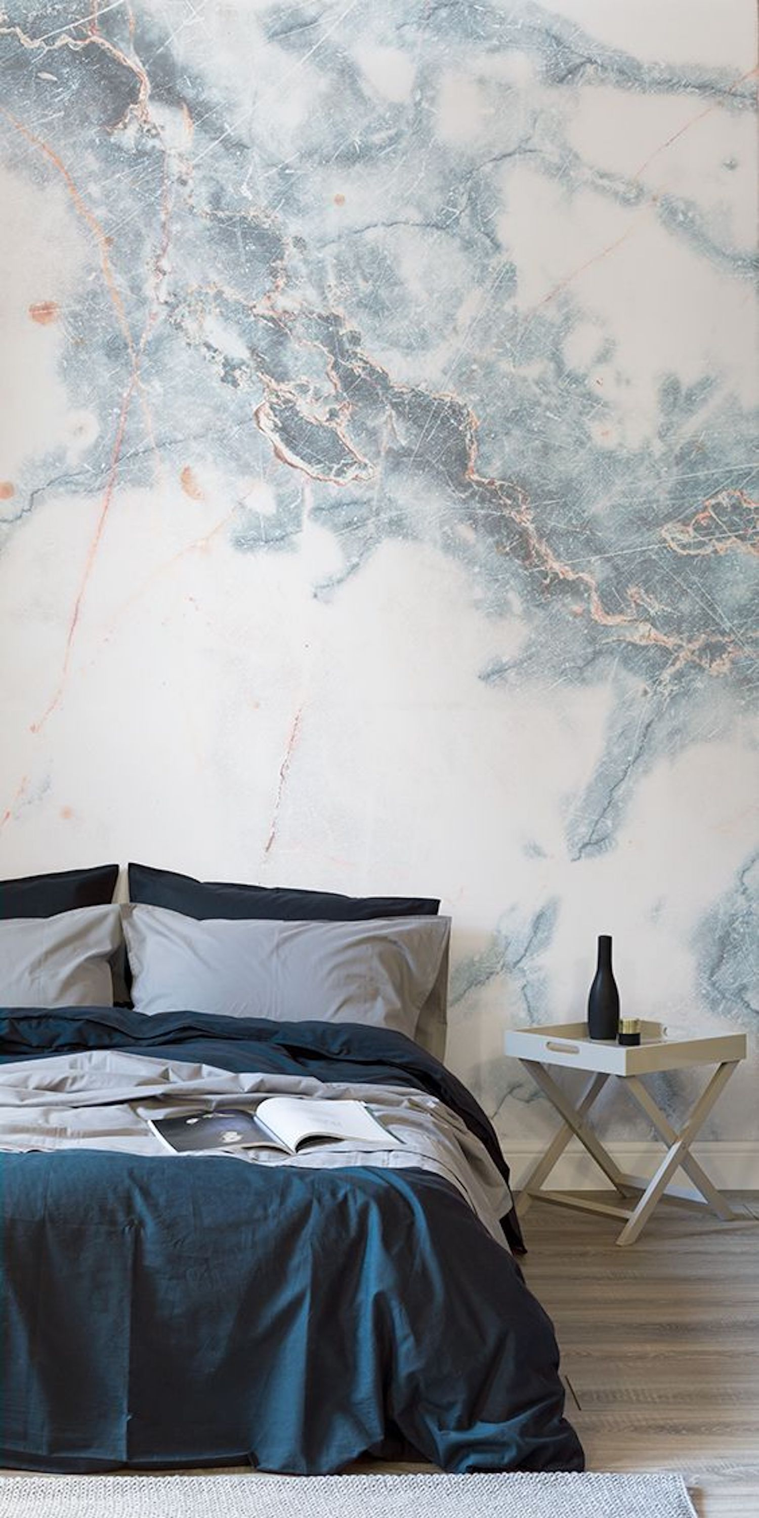 Cloud Wallpaper For Bedroom Wallpapers Deep Blue Clouded Marble Wall Mural Murals