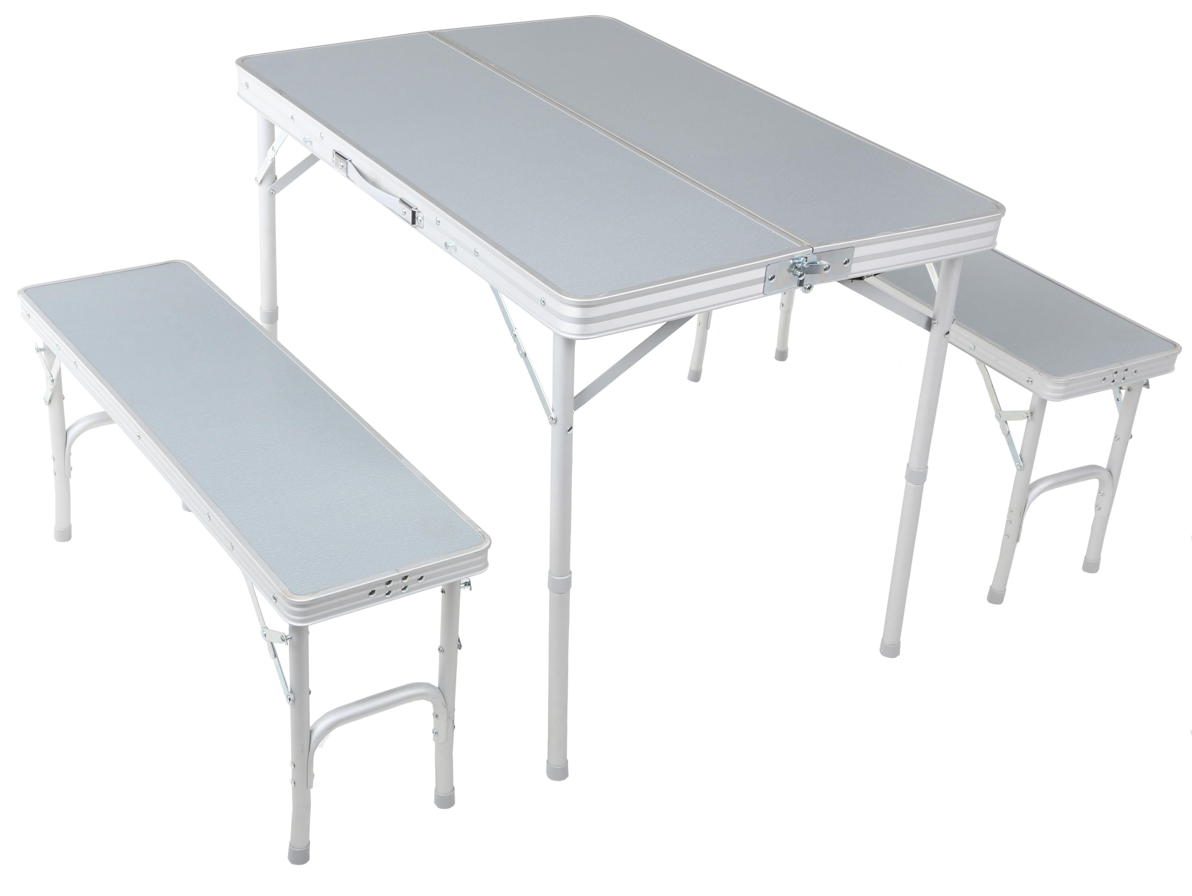 Urban escape folding table and bench set folds down into a single carry case
