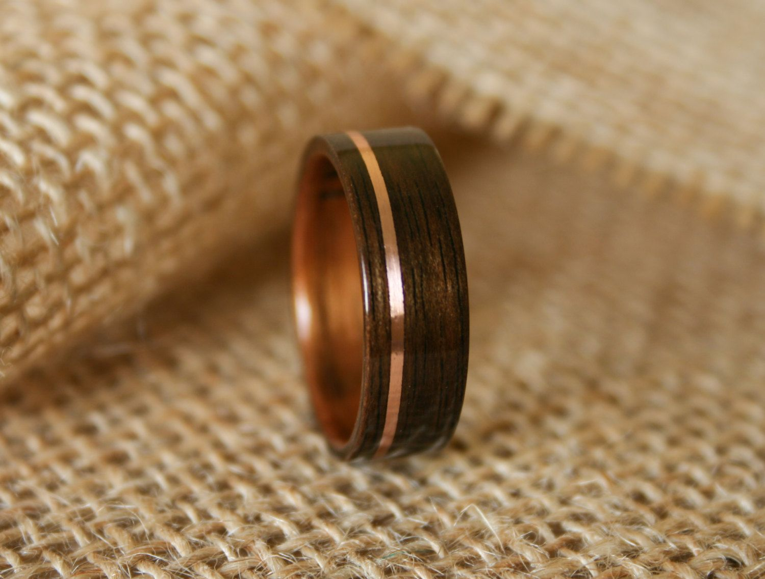 wooden wedding rings Men s Wooden Wedding Band with 14k Rose Gold Inlay in Macassar Ebony Wood with Koa Wood