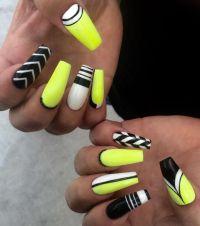 Neon yellow, black, white nail art | Nail Art | Pinterest ...