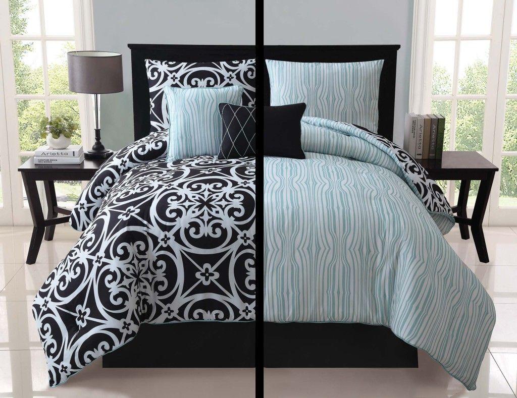 5pc luxury kennedy black white teal reversible comforter set bedding