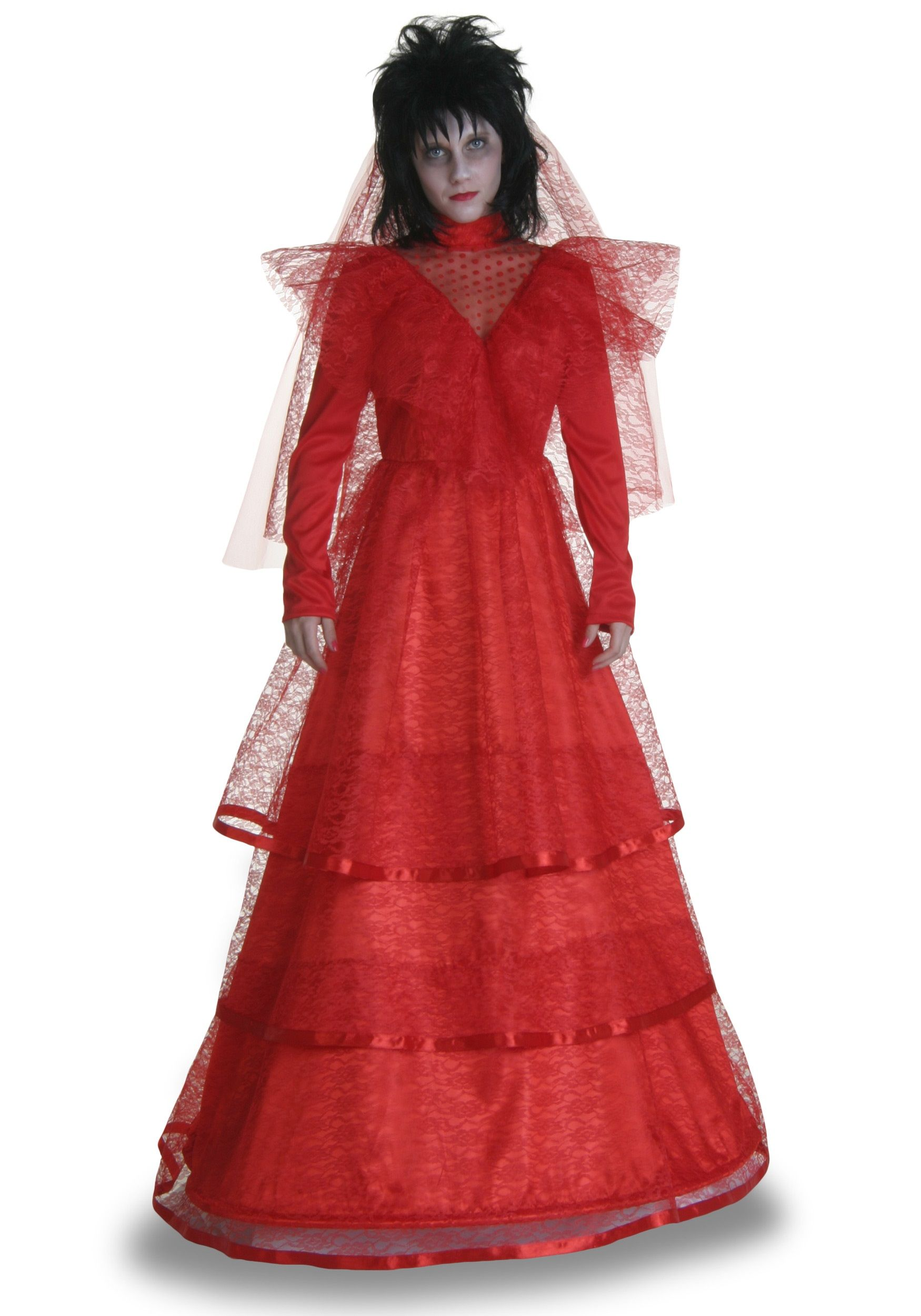 red dress for wedding Beetlejuice Lydia Deetz s Red Gothic Wedding Dress Halloween Party with Tim Burton