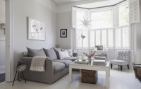 Victorian terrace sitting room, plantation shutters, white ...