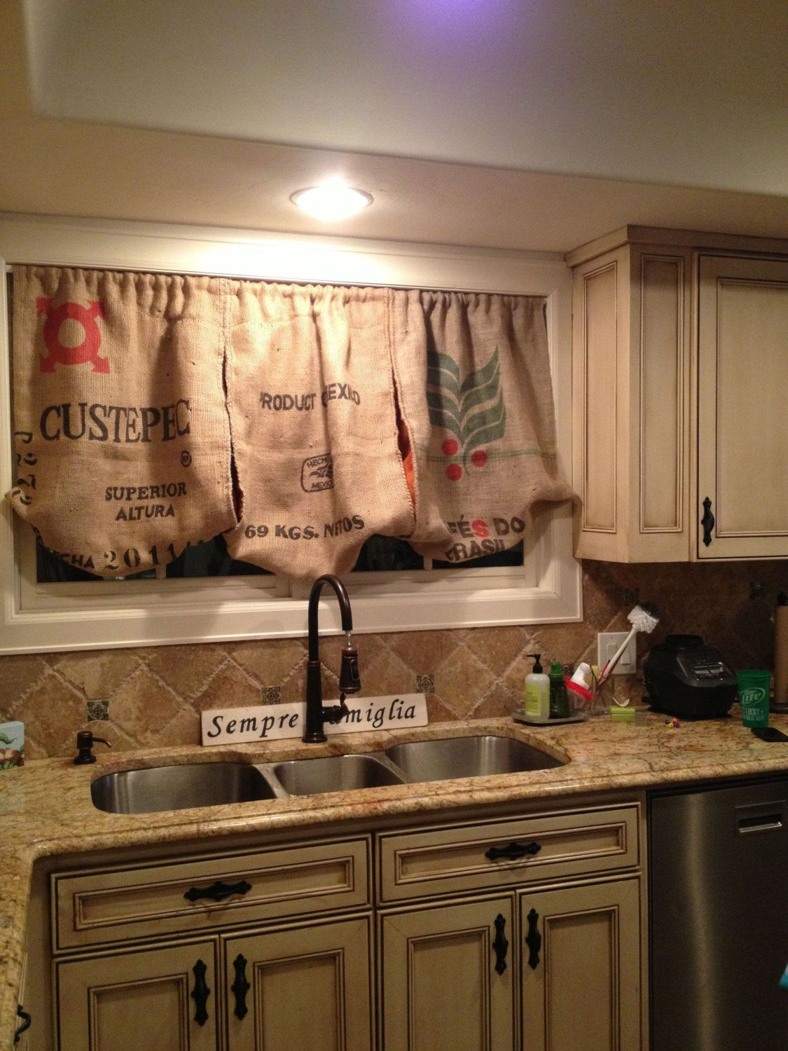 Burlap kitchen valance by peytonsfaves on etsy 98 00