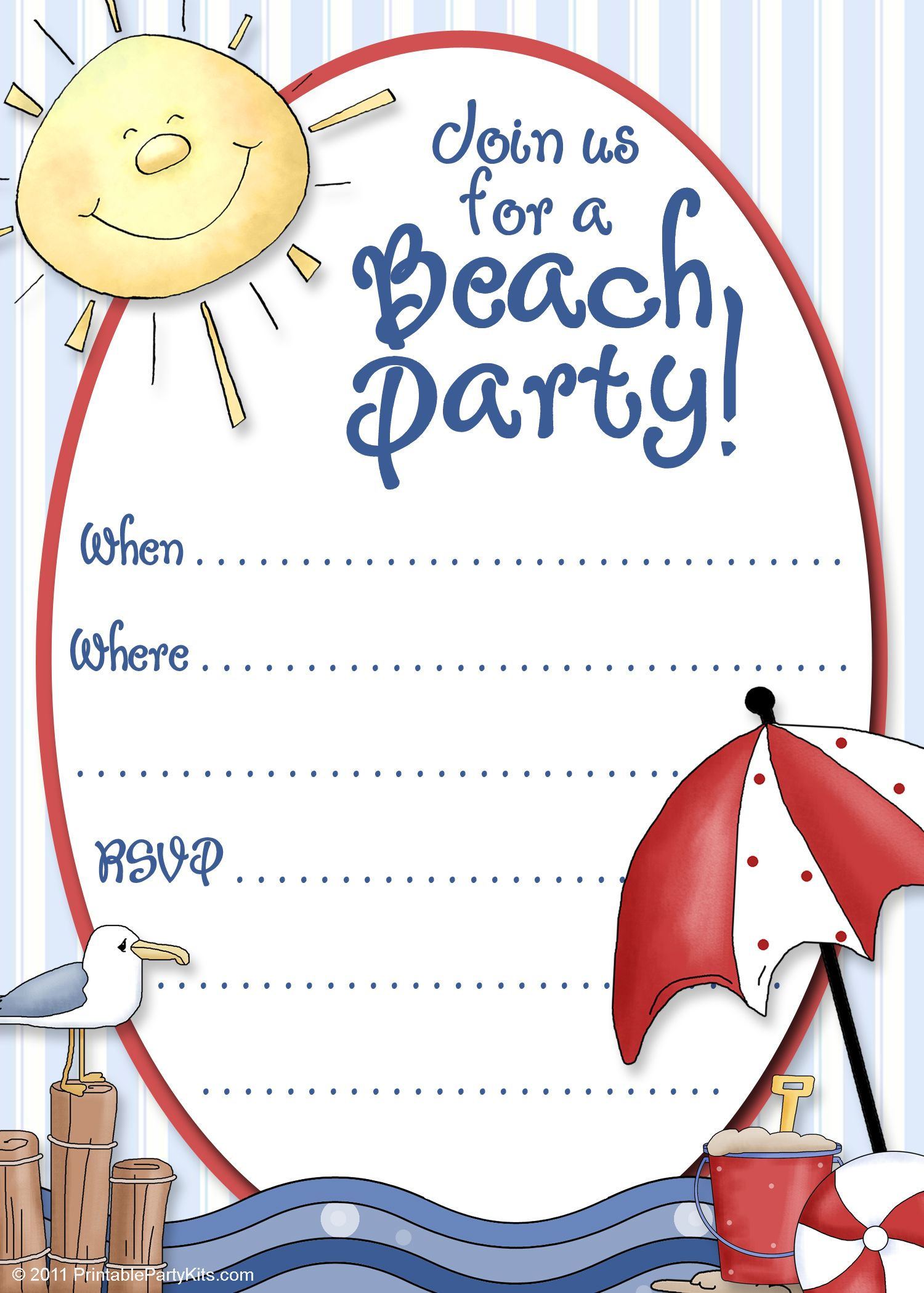 Luau Party Invitation Templates Thank Notes And Blank Party Cards – Beach Ball Party Invitations