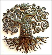 "Tree Metal Art Wall Hanging - 34"" Haitian Recycled Steel ..."
