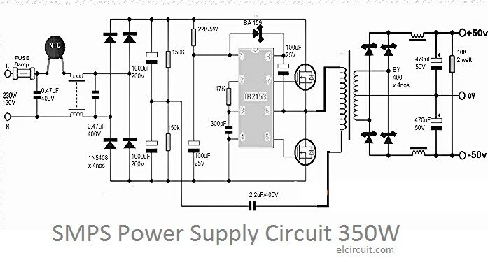 138v 20a transformerless power supply diagram