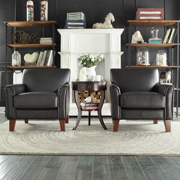 TRIBECCA HOME Uptown Modern Dark Brown Faux Leather Accent Chair - accent living room chair