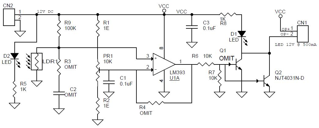circuit diagram of dark sensor using ldr