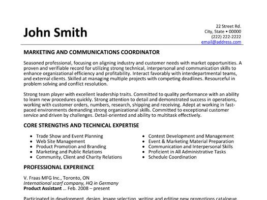 Click Here to Download this Marketing and Communications - communication on resume