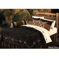 Black cabin decor bedroom | Black Pine Embroidered Pine ...