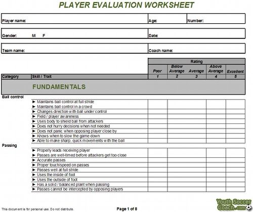 soccer player evaluation form - Google Search Soccer Pinterest - coach feedback form