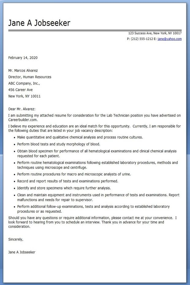 Lab Technician Cover Letter Examples Creative Resume Design - generic resume cover lettercover letter for pharmacy technician