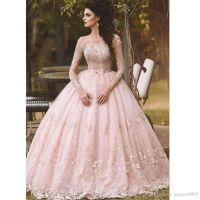 2017 Blush Pink Long Sleeves Prom Dresses 3D floral Floor ...