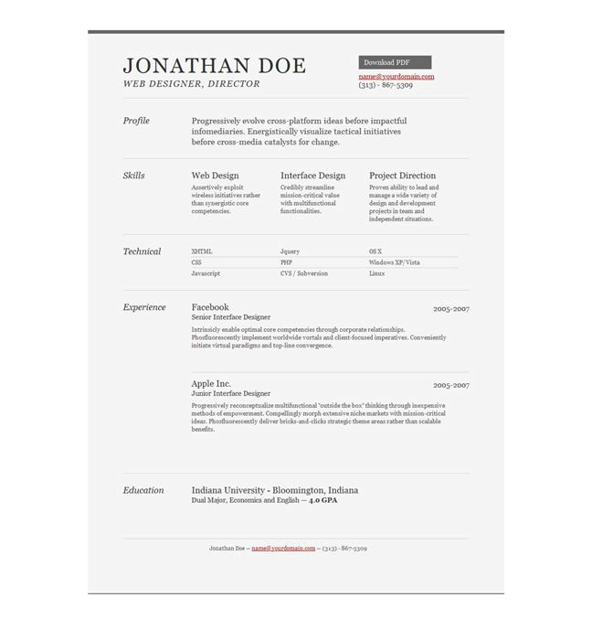 10 Free Professional HTML \ CSS CV\/Resume Templates Cv resume - free template for resume