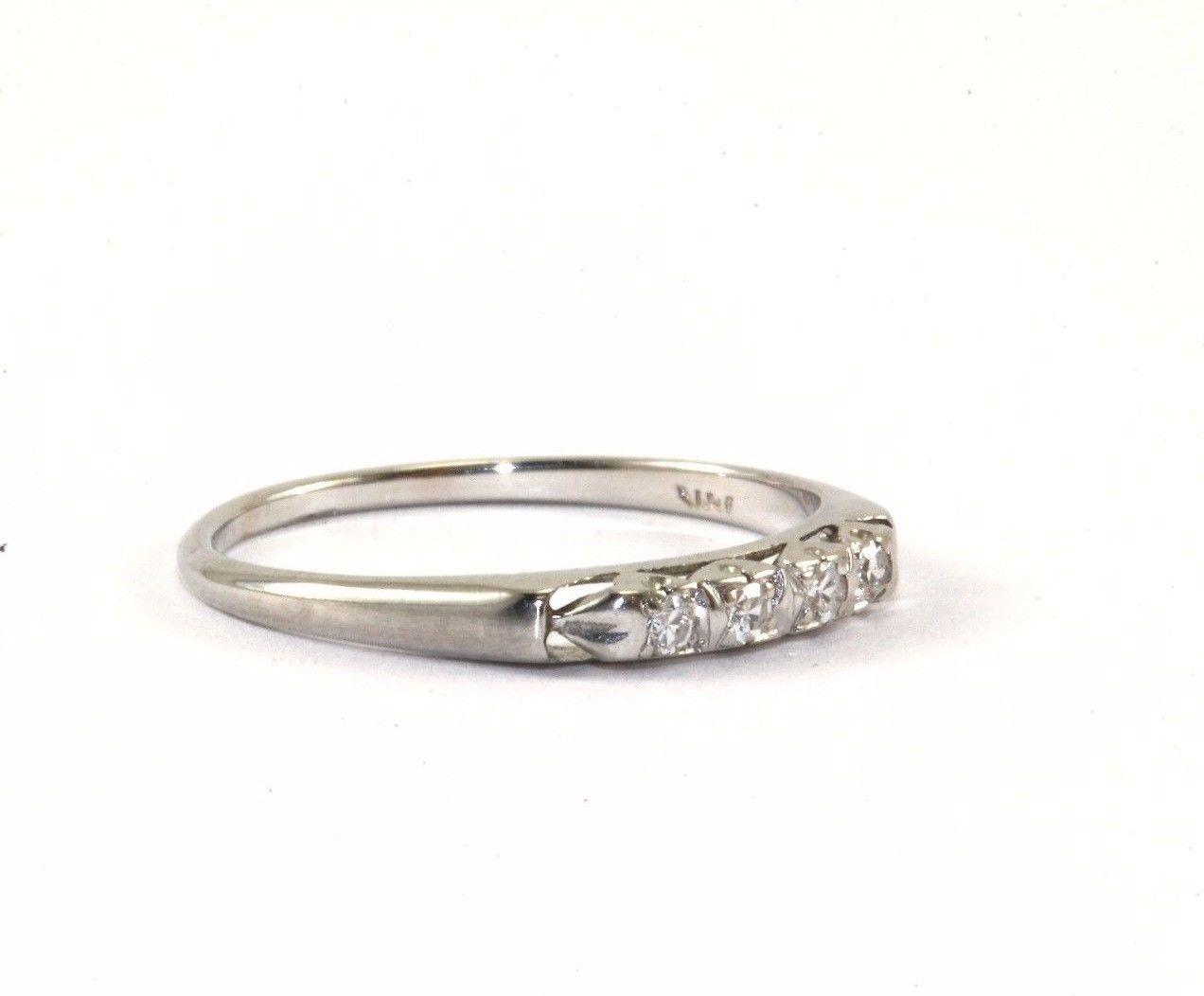 thin wedding bands 14K WHITE GOLD FOUR NATURAL DIAMONDS THIN WEDDING BAND RING GRG 84