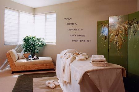 Home Spa Room Ideas The thin letters have the look and feel of - spa ideas for home