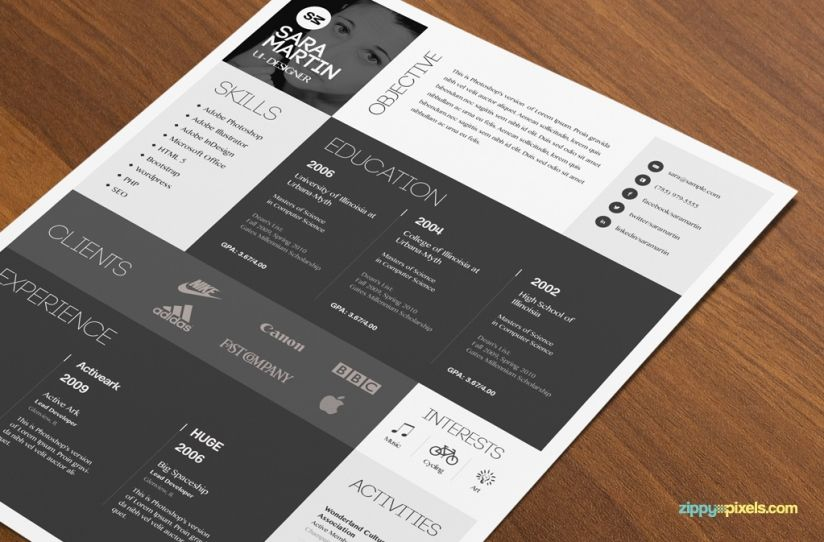 Resume \ Cover Letter Template Set Simple \ Colorful Design - unique resume templates