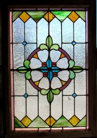 ~ ANTIQUE AMERICAN STAINED GLASS WINDOW ~ 27.5 x 40.5 ...