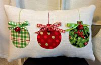 Christmas Pillow, Burlap Christmas Pillow, Fabric ...