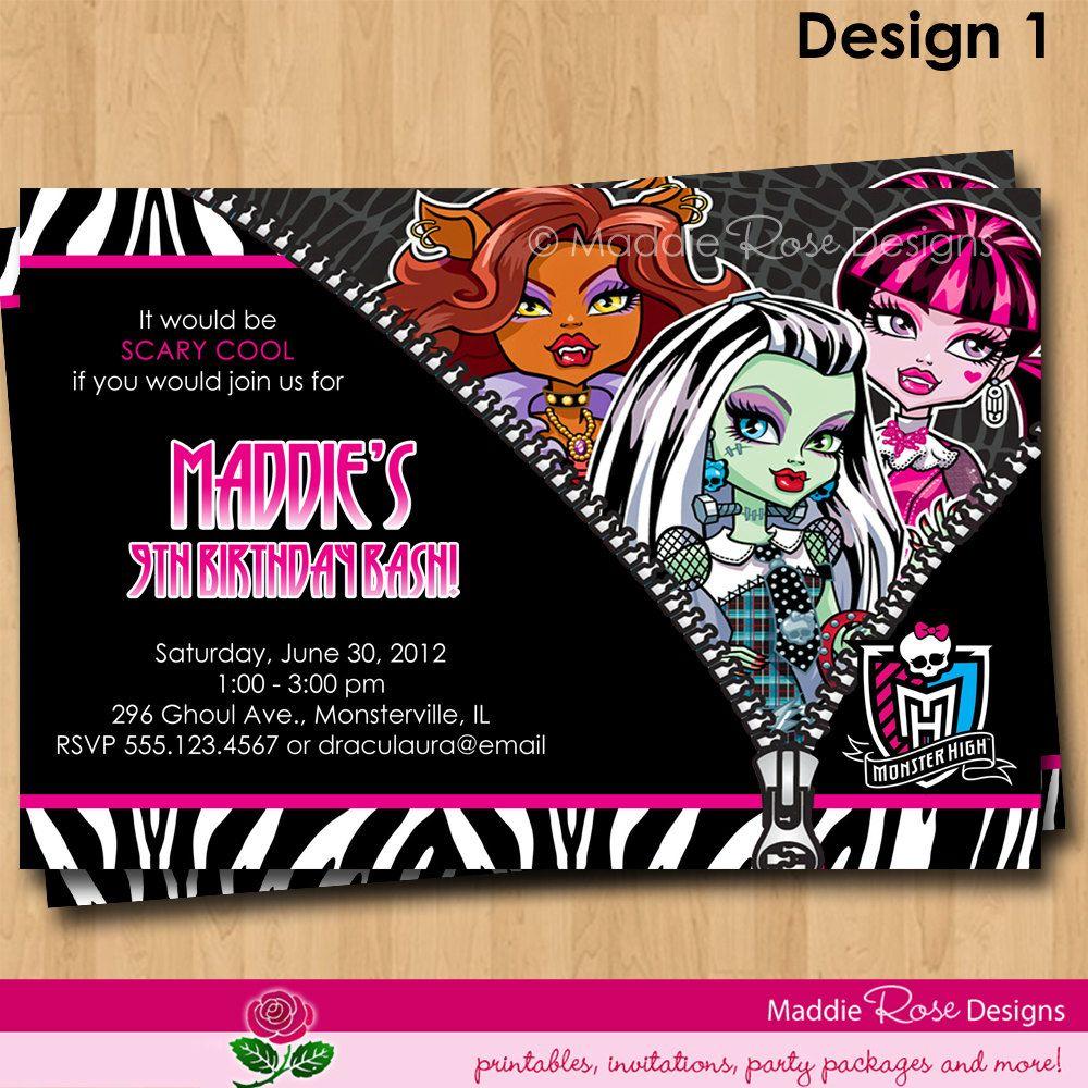 Monster High Invitation Printable Birthday Party Invite