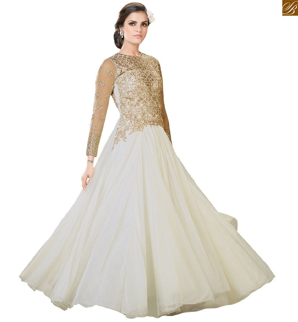 Indian evening gowns designer wear with fancy long sleeves
