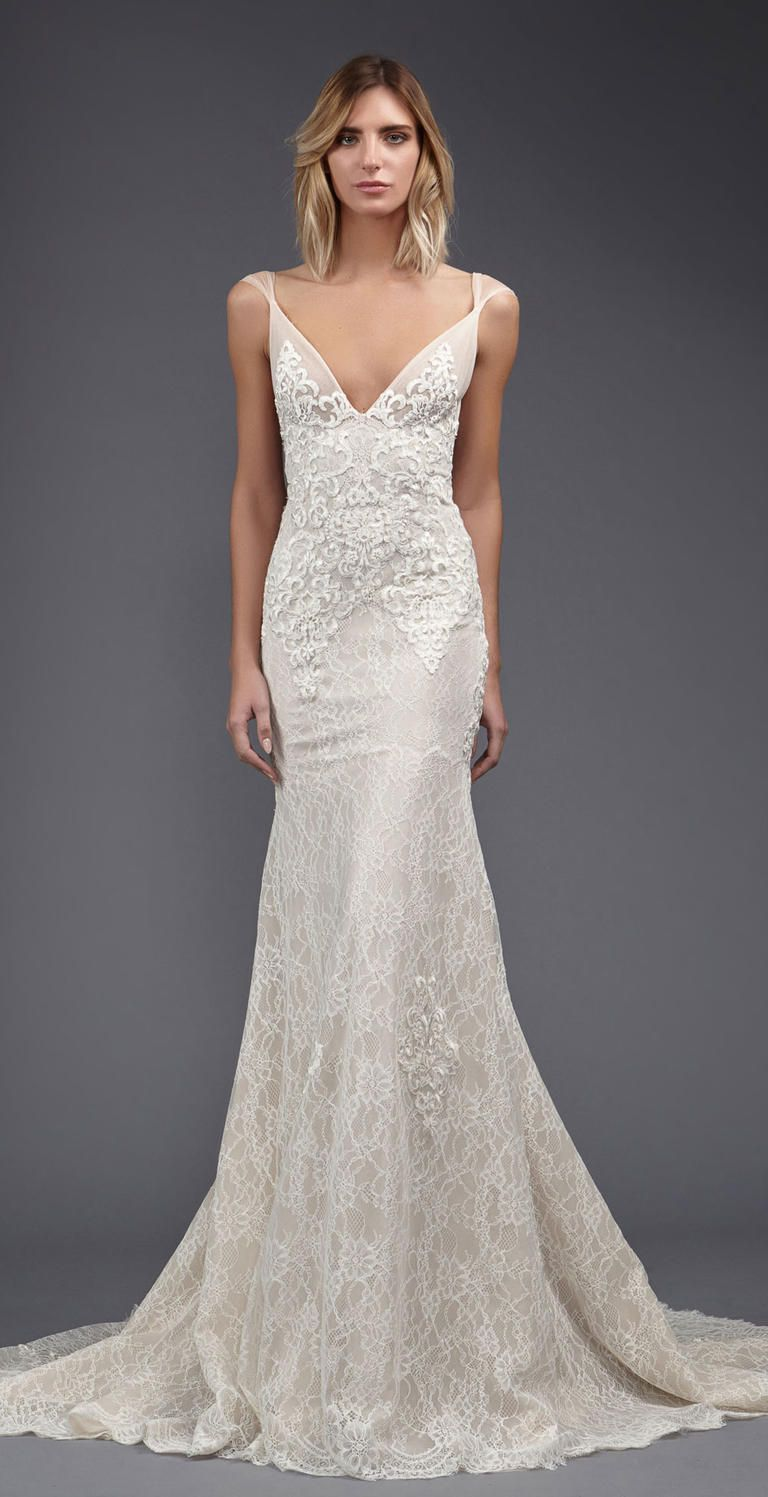 chantilly lace wedding dress Victoria KyriaKides Weightless Lace Gowns for Spring
