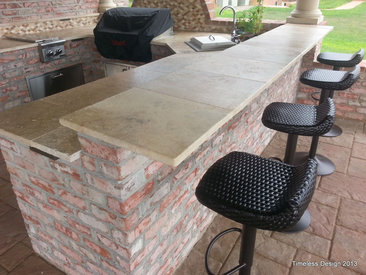 Outdoor Countertops Material Honed Travertine Outdoor Kitchen And Bar My Project