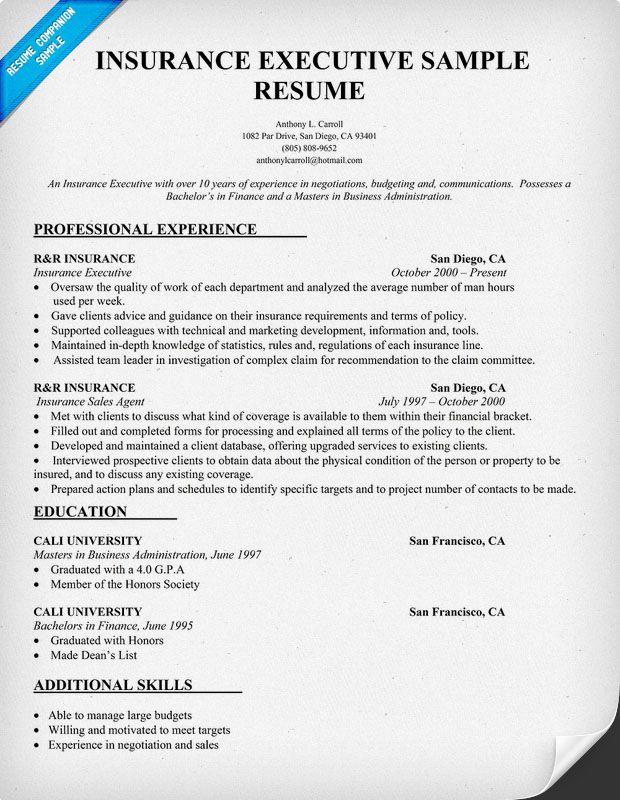 Insurance Executive Resume Sample (resumecompanion) Resume - resume companion