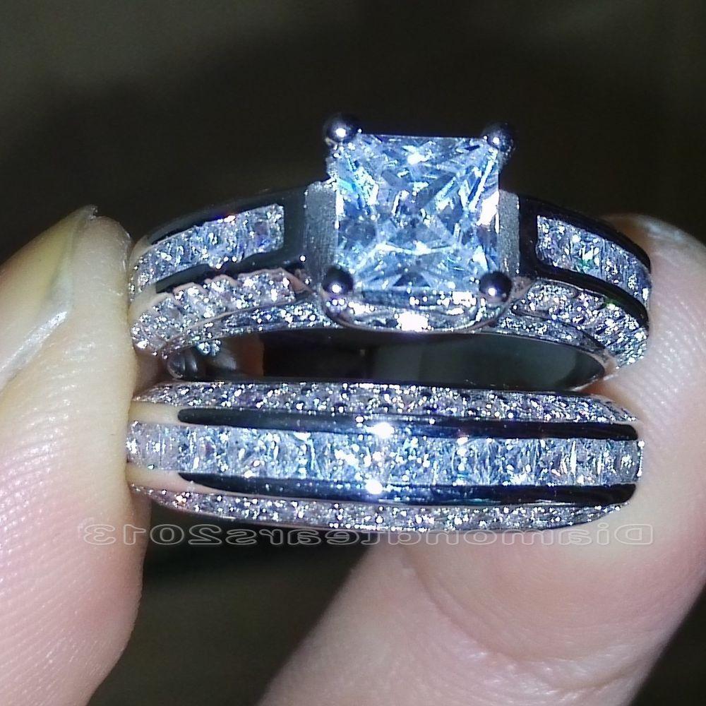 dolphin wedding rings Size 5 10 Princess Cut 10k white gold filled white Topaz Wedding Ring set gift