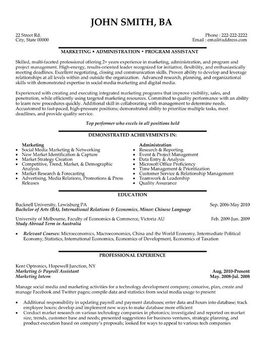 Click Here to Download this Marketing and Payroll Assistant Resume - marketing assistant resume